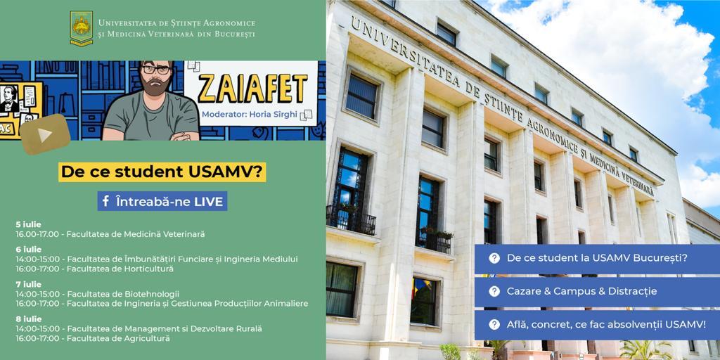 Admitere 2021 - 2022 la Universitatea de Stiinte Agronomice si Medicina Veterinara din Bucuresti